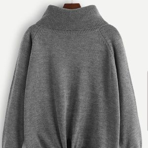 Turtle neck, knot front grey sweater